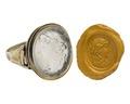 Fingerring av guld med gem i agat, 1700-tal - Hallwylska museet - 110204.tif