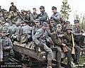 Finnish soldiers and German Waffen-SS volunteers on a rail cart in Kiestinki, Karelia, 22 August 1941. (33062305288).jpg