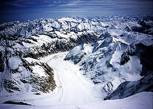 Finsteraarhorn - View over the Finsteraar Glacier from the summit