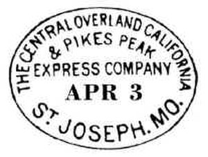 Central Overland California and Pikes Peak Express Company - Image: First Westbound Pony Express Overland Post Mark Apr 3
