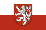 Flag used by Czech nationalists (Small coat of arms of the Czech Republic)