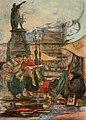 Flea Market at the Vrijdagmarkt in Ghent In the background the statue of Jacob van Artevelde. Watercolor by Jules De Bruycker, 1902 ( ).jpg
