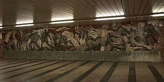 Battle of Sokolovo - Mosaic commemorating the battle in the Florenc Station of Prague's Metro