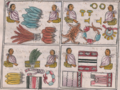 Florentine Codex Fol 1 mercaderes plumas ropa metales.png