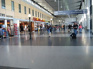 Bradley International Airport - Food court and shopping hall connecting the East and West concourses of Terminal A