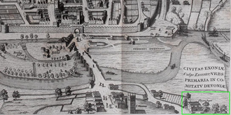 Floyer Hayes - Floyer Hayes shown (bottom right) on 1617 map of the City of Exeter in the 6th volume of Civitates Orbis Terrarum by Georg Braun (1541-1622). St Thomas's Church at left (west)