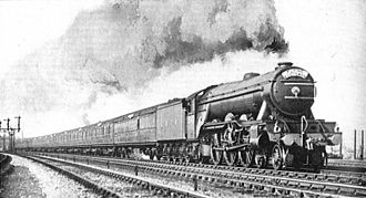 London and North Eastern Railway - LNER Class A1 No. 2547 Doncaster with The Flying Scotsman train in 1928.