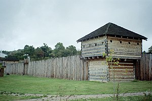 "Western theater of the American Revolutionary War - A modern replica of Fort Randolph, which Americans built along the Ohio River in 1776. Dunquat, the Wyandot ""Half King"", besieged the fort in May 1778."