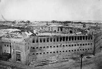 Siege of Fort Morgan - Fort Morgan, Mobile Point, Alabama, 1864, showing damage to the south side of the fort.