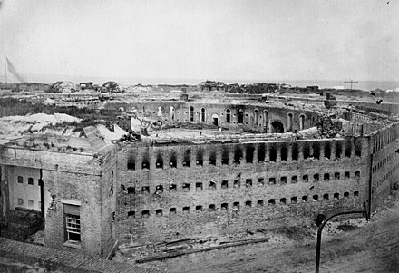 The citadel at Fort Morgan as it appeared after its surrender following the Battle of Mobile Bay. Fort morgan alabama.jpg