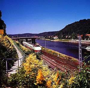 Vindobona (train) - 175 DR diesel multiple unit in the Elbe valley near Bad Schandau, 1975