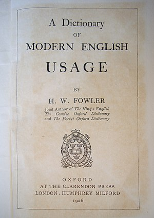 A Dictionary of Modern English Usage - The title page of A Dictionary of Modern English Usage (1926).
