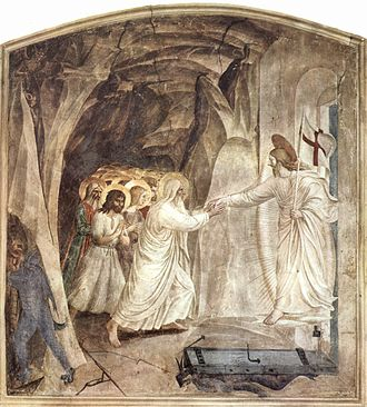 Harrowing of Hell - Before his resurrection from the dead, Jesus Christ grants salvation to souls by the Harrowing of Hell. Fresco, by Fra Angelico, c. 1430s