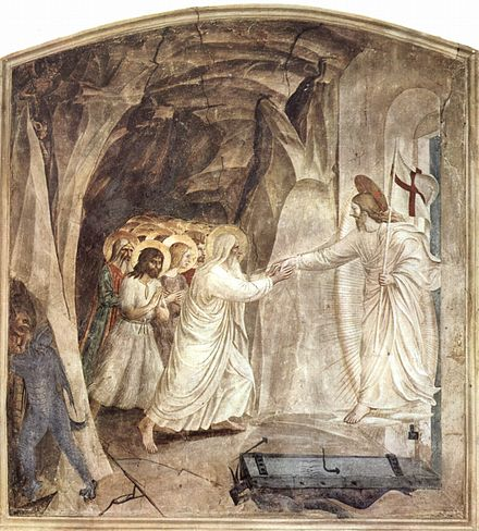 Before his resurrection from the dead, Jesus Christ grants salvation to souls by the Harrowing of Hell. Fresco by Fra Angelico, c. 1430s. Fra Angelico 024.jpg