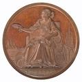 Framsida av bronsmedalj med sittande kvinna och provinsen Antwerpens vapen - Skoklosters slott - 99239.tif