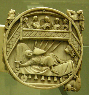 Perceval, the Story of the Grail - Gawain on the Perilous Bed, an episode from the story, on an ivory mirror-case, Paris, 14th century.