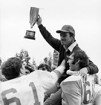 Hardy Trophy - UBC head coach Frank Smith with the original Hardy Trophy in 1978.