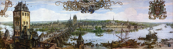 Frankfurt panorama of the 17th century, 1889 watercolour by Peter Becker