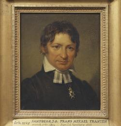 Franz Mikael Franzén Johan Gustaf Sandbergin maalauksessa vuonna 1828.