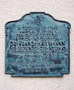 Memorial tablet for Franz Hartmann, a German theosophist in Kempten, Bavaria, Germany.