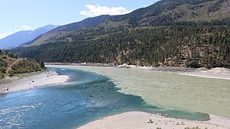 Thompson River - The darker waters of the Thompson meet the Fraser at Lytton.