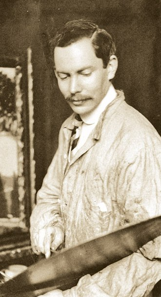 Frederic Clay Bartlett - Frederic Clay Bartlett at his easel, 1906