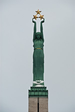 Dissolution of the Soviet Union - Figure of Liberty on the Freedom Monument in Riga, focus of 1986 Latvian demonstrations.