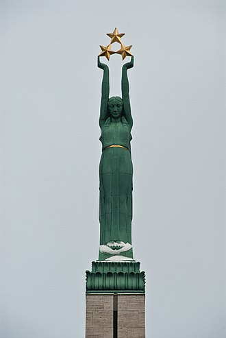Dissolution of the Soviet Union - Figure of Liberty on the Freedom Monument in Riga, focus of 1986 Latvian demonstrations