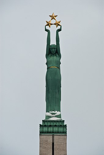 Figure of Liberty on the Freedom Monument in Riga, focus of the 1986 Latvian demonstrations Freedom Monument Riga closeup.jpg