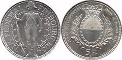 At left, the obverse of the silver-colored thaler, featuring a standing soldier looking left, a rifle in his right hand, surrounded by the inscription TIR FEDERAL FRIBOURG 1934. At right, the reverse, showing an oval form of the Fribourg coat of arms encircled by laurel branches, with a crown above. Along the outer edge is the inscription BON DE 5Fr REMBOURSABLE AVANT LE 31 AOUT 1934, with 5 FR at the bottom.