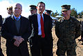 From left, U.S. Sen. John McCain of Arizona, Sen. John Barrasso of Wyoming and U.S. Marine Corps Lt. Col. Trevor Hall, the battalion commander of the 3rd Battalion, 8th Marine Regiment and Black Sea Rotational 140415-M-FD819-296.jpg