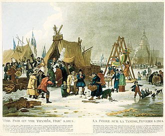 River Thames frost fairs - The Frost Fair of 1814, by Luke Clenell.