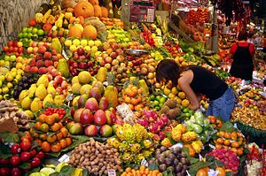 A fruit stall in Barcelona, Spain.