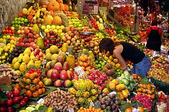 Fruit - A large variety of fruits displayed at a market