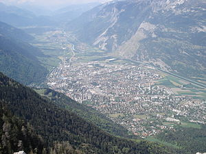Chur - Chur from its highest point, called Fürhörnli, looking upstream