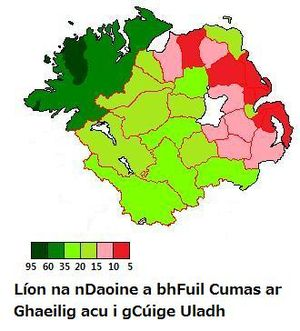 Ulster Irish - The percentage of people in each administrative area in Ulster who have the ability to speak Irish. (Counties of the Republic of Ireland and District council areas of Northern Ireland.)