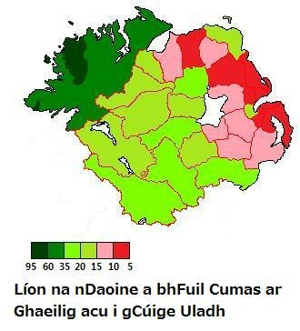 Ulster Irish - The percentage of people in each administrative area in Ulster who have the ability to speak Irish (Counties of the Republic of Ireland and District council areas of Northern Ireland).