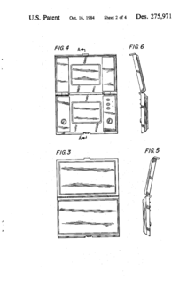 The back, front, left, right view drawings of a two screen folding handheld