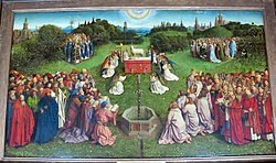 Jan van Eyck: Adoration of the Lamb from the Ghent Altarpiece