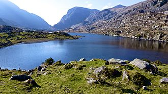 Gap of Dunloe - At the Black Lake in the Gap of Dunloe, looking south towards the Head of the Gap