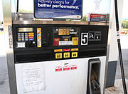 Pay-at-the-pump gasoline pump in Indiana, United States during the price spike in the wake of Hurricane Katrina.