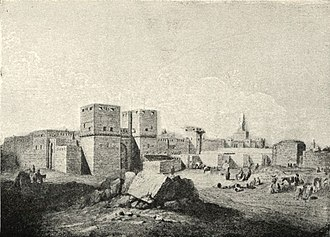 Fatimid architecture - 1830 view of the gate of Bab al-Nasr, Cairo, built by Badr al-Jamali in 1087
