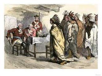 "Henry Gladwin - Ottawa chief Pontiac visits Major Henry Gladwin, commanding Fort Detroit, planning to kill him and start a massacre of the English. Gladwin, fore-warned, dismisses him. Engraving by ""WLJ"" in Cassell's History of the World"