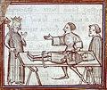 Geoffroy de Charny, blessé, prisonnier d'Edouard III (Fleurs des chroniques - Besançon - BM - MS 677 - fol 83).jpg