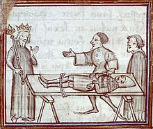 A pen and ink image of a medieval knight tied to a board being presented to a king