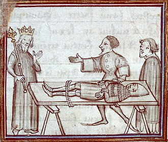 Battle of Calais (1349) - Geoffrey de Charny, wounded and a prisoner of Edward III, after his attempt to take control of Calais (miniature from a manuscript of Fleurs des chroniques, end of the 14th century)