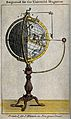 Geography; a combination orrery and globe. Coloured engravin Wellcome V0025079.jpg