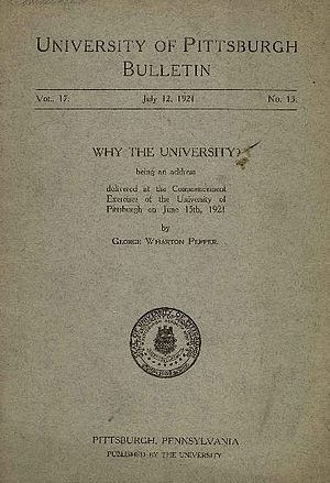 George W. Pepper - the front cover of the transcript of the commencement address given by George Wharton Pepper in July 1921