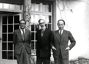 Charles Ehresmann - Charles Ehresmann (right) at the topology conference 1949 in Oberwolfach, together with Paul Vincensini (middle) and Georges Reeb (left)
