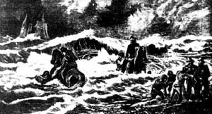 SS Georgette - Rescue of SS Georgettes passengers and crew (Illustrated Sydney News, 3 February 1877)